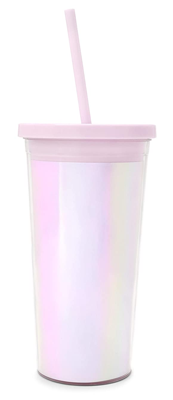 Ban.do Metallic Sip Sip Insulated Tumbler With Reusable Silicone Straw, 20 Ounces, Pearlescent