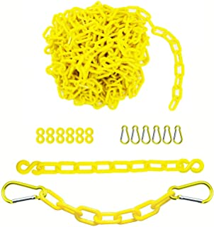 Sponsored Ad - Reliabe1st 26 Feet Yellow Plastic Safety Barrier Chain with 6 S-Hooks and 6 Carabiner Clips | Caution Secur...