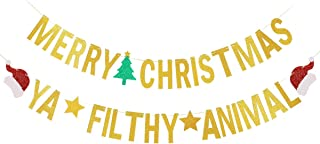 Gold Glittery Merry Christmas Banner and Gold Glittery Ya Filthy Animal Banner -Christmas Party Holiday Party Decorations,Mantle Home Decor,Xmas Sign Decor