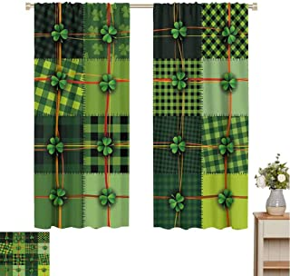 Mozenou Irish Kids Curtain Patchwork Style St. Patricks Day Themed Celtic Quilt Cultural Checkered with Clovers Microfiber Window Panel Pair W55 x L72 Multicolor