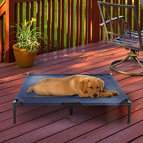 "Elevated Pet Bed-Portable Raised Cot-Style Bed W/ Non-Slip Feet, 36""x 29.75""x 7"" for Dogs, Cats, and Small Pets-Indoor/Outdoor Use by Petmaker (Blue)"