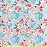 ABAKUHAUS Vendimia Tela por Metro, Flores Rosas Tetera, Satén para Textiles del Hogar y Manualidades, 2M (148x200cm), Azul Bebé Y Rosa Pálido