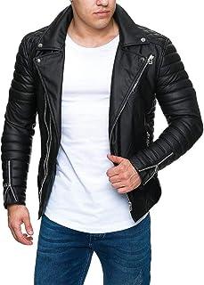 MEIbax Chaqueta Plisada de Cuero para Hombre Cazadora Estilo Motera Plisado Originales de Empalme Cremallera Cuello Parka Jacket de Soporte Abrigo de Cuero de imitación Tops Moda Abrigos