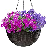 Sorbus Hanging Planter Round Self-Watering Basket, Resin Woven Wicker...