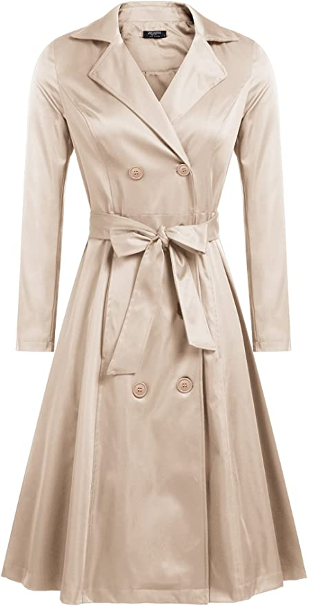 1950s Coats and Jackets History Zeagoo Womens Trench Coats Double-Breasted Long Coat with Belt  AT vintagedancer.com