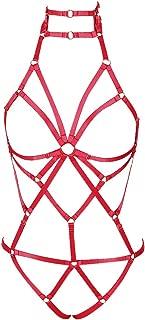 Women's Punk Body Harness Lingerie Full Waist Garter Belts Set Strappy Frame