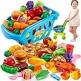 Buyger 2 en 1 Cortar Alimentos Carrito de Compras Juguetes con Frutas y Verduras Pizza Supermercado Juguete Juego del rol Regalo para 3 4 5 Años Niños Niñas