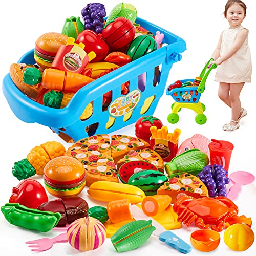 Buyger 31 Pezzi Carrello Spesa Bambini Giocattolo Cucina Cibo Frutta Verdura da Tagliare Taglio Giocattolo per Bambini 3+ Anni