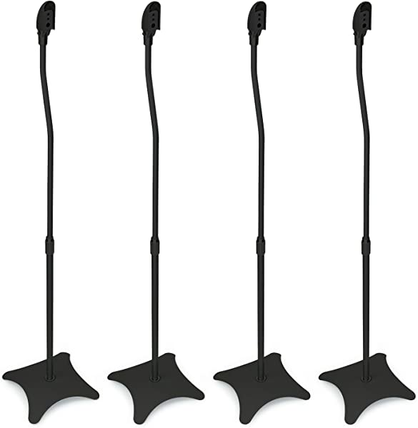 Mount It MI 1214 Speaker Stands For Home Theater 5 1 Channel Surround Sound System Satellite Speaker Stands Mounts Rear And Front 2 Pairs 10 Lb Capacity Black Renewed