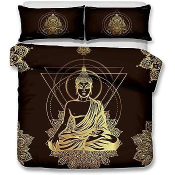 Bouddha 01, 140x200 cm DXSX Housse de Couette Sets Vintage Oriental Bouddhisme Culture Zen Cr/éatif Statue de Bouddha Impression Literie 1 Housse de Couette et 1 taie doreiller Ensemble