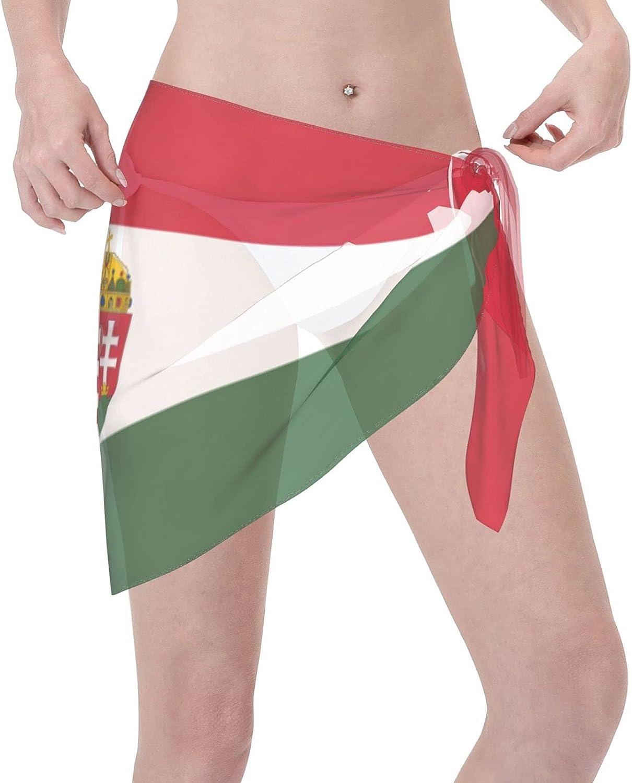 Women Short Sarongs Beach Wrap Sheer Hungarian Flag Bikini Chiffon Cover Ups for Swimwear Black