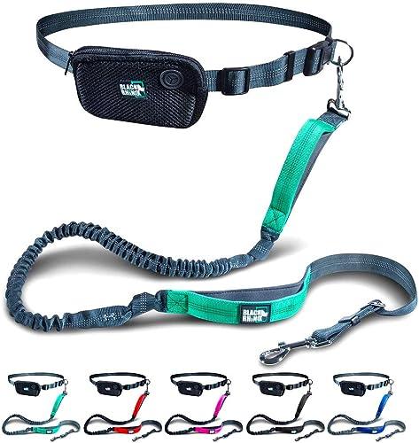 Black Rhino - Premium HANDS FREE DOG LEASH for Running Walking Jogging & Hiking - Adjustable Length Dual Handle Bunge...