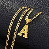 Anniyo A-Z Letters Pendant Necklaces for Women Men Girls English Initial Alphabet Figaro Cha Gold Color Jewelry #058002S