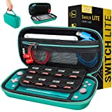 Orzly Carry Case for Nintendo Switch Lite with Game Cartridge Holders and Large Dual Pocket for accessories - Blue Turquoise Edition