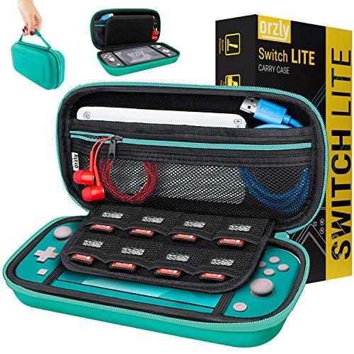 Orzly Etui pour Nintendo Switch Lite, Deluxe Housse Rigide de Rangement Zippée en Matériau Durable Anti-Choc pour la Console Nintendo Switch Lite (2019) et Ses Accessoires - Bleu Turquoise