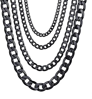 Miami Cuban Chain Necklaces Bracelets, Layered Necklace for Men Women, W:4mm-13mm, Black/18K Gold Plated, Stainless Steel, L:18''-30''