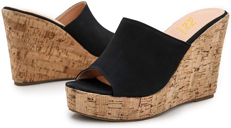 LEHOOR Cork Wedge Superior Mules for Women To Sandals Peep Direct store Platform Slide