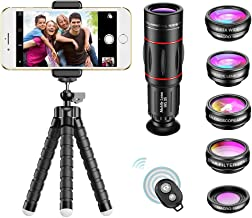 APEXEL Phone Camera Lens with 18x Telephoto Lens+Fisheye,Macro/Wide Angle Lens+Star,Kaleidoscope Filter+Tripod and Shutter...