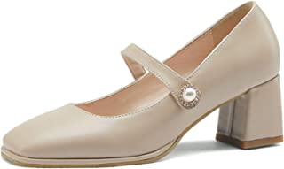Hoge hakken, vrouw schattig platte teen Asakuchi instapper dikke hak enkele schoenen voor clubfeest dagelijks leven (31-48...