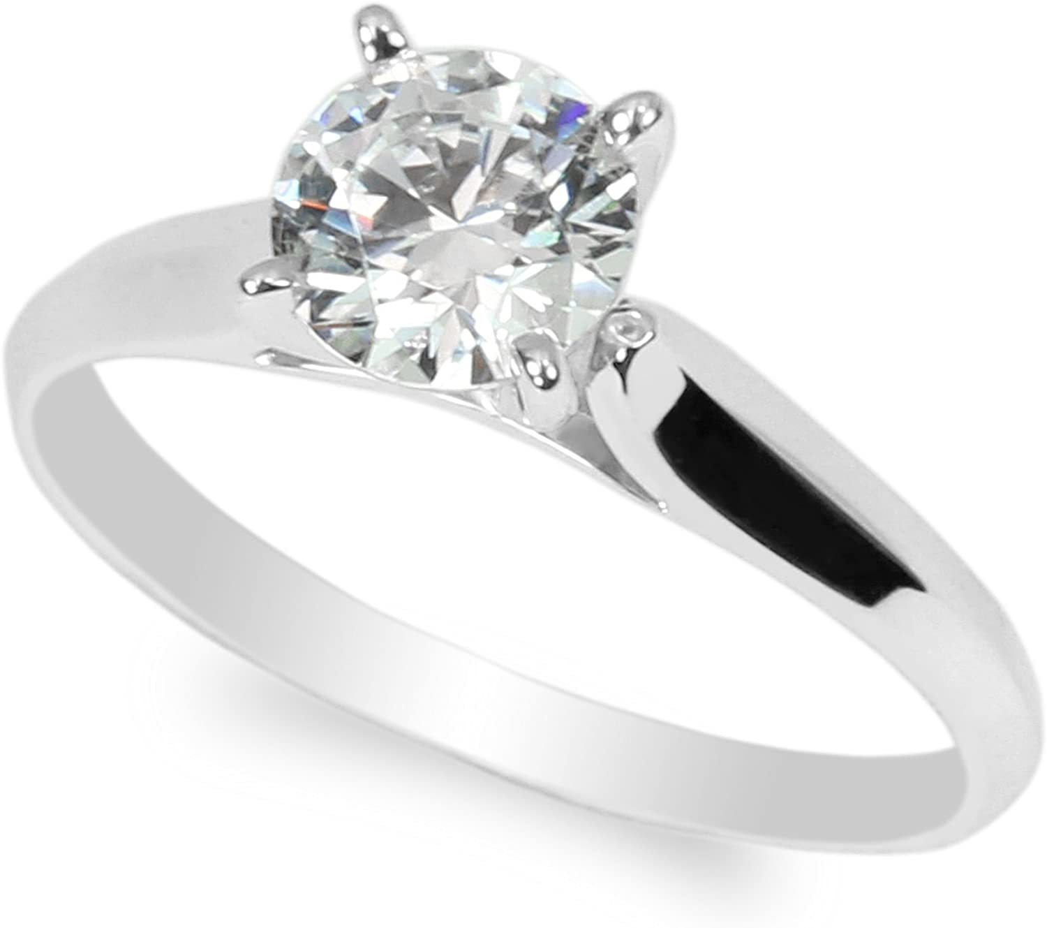 JamesJenny 10K White Gold 1.0ct Round CZ Classic Solid Engagement & Wedding Solitaire Ring Size 4-10