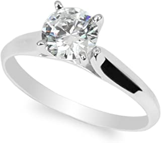 10K White Gold 1.0ct Round CZ Classic Solid Engagement & Wedding Solitaire Ring Size 4-10