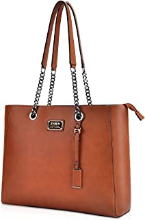 ZYSUN 15.6 inch Laptop Bag for Women,Multi-compartment Laptop tote PU Leather Briefcase