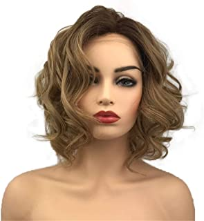 Aimole Synthetic Lace Front Wig Light Brown Ombre Hair Medium Curly Natural Wigs