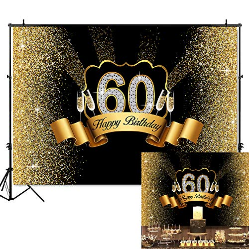 Mehofoto 60th Birthday Backdrop Golden Black Champagne Happy 60 Birthday Background 7x5ft Vinyl 60th Party Banner Supplies Backdrops