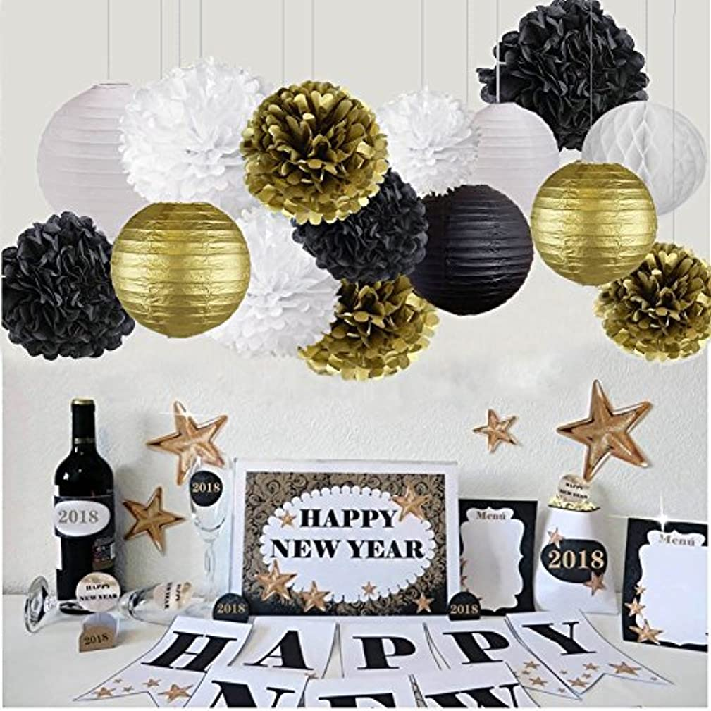 Happy New Year Party Decorations Black White Gold Tissue Paper Pom Pom Paper Lanterns Balls for Great Hanging Decorations/ New Year's Eve Party /Birthday Decorations/Bridal Shower Decorations