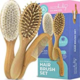 Product Image of the OCCObaby 3-Piece Wooden Baby Hair Brush and Comb Set for Newborns and Toddlers |...