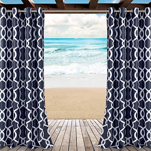 LORDTEX Vorhänge mit marokkanischem Druck, für Terrasse, Pergola, Veranda, Deck, Lanai und Cabana – 2 Paneele wasserdicht gegen Sonnenlicht 52 x 95 inch indigo