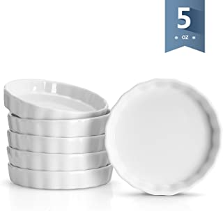 Sweese 505.001 Porcelain Ramekins Round Shape - 5 Ounce for Creme Brulee - Set of 6, 4.8 x 0.8 Inch, White