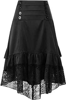 Howely Women's Asymmetrical Hem Skater Skirt Steampunk Knit Skater Skirt