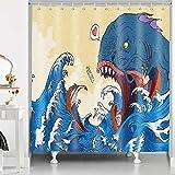 RHDORH Big Mouth Shark Duschvorhang Japanische Welle Ocean Monster Ukiyo-e Surfen Samurai Retro Mensch & Fisch Schlacht Polyester Stoff Wasserdicht Badvorhang-Set mit Haken 183 x 183 cm YLLMDO103