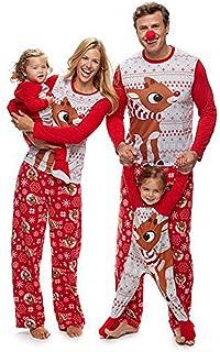 Pijamas Navidad Familia Conjunto Pijama Navideñas de Reno Niños Hombre Mujer Niña Chica Bebe Trajes Ropa de Noche Homewear Pijamas de Navidad para Toda La Familia Sudadera Chándal Suéter de Navidad