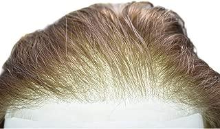 "LYRICAL HAIR Men Toupee Ultra Thin Skin Hair Replacement System 0.03mm Transparent Super Thin Poly Wig 10""X8"" (100% Light Density, 4Ash# Medium-Dark Brown With Ash Tone)90% Density"