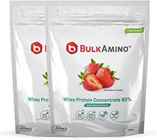 Advance Nutratech Bulkamino Whey Protein Concentrate 80% Raw Protein 500gm Strawberry Supplement Powder(pack of 2) 1 kg