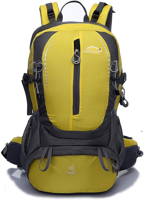 HENDTOR Wasserdichte Nylon Outdoor Sports Unisex Bergsteigen Klettern Trekking Camping Wandern Taschen 40L Gelb