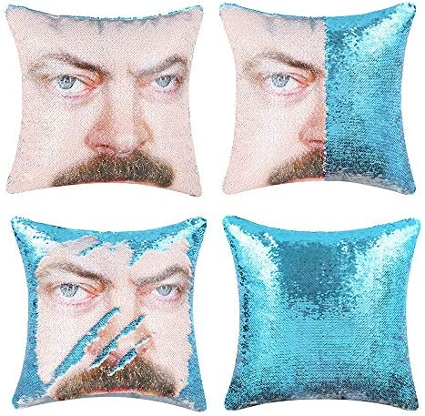 cygnus Ron Swanson Mermaid Reversible Sequin Throw Pillow Cover Without Insert Color Changing product image