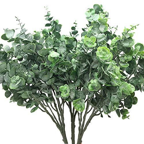 Aisamco 3 Stück Faux Eukalyptusblätter Spray künstliches Grün Vorbauten Gefälschte Silver Dollar Eukalyptus Zweige Pflanzen in Dusty Grün 15