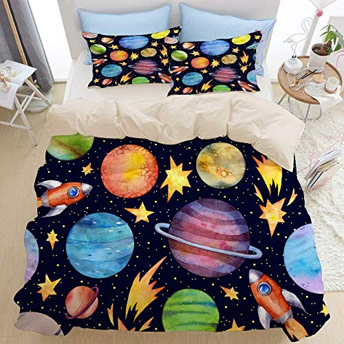1203 beige Duvet Cover Set,Colorful planets rockets flying,Microfibre Duvet Cover Set 200x200cm with 2 Pillowcase 50x80cm