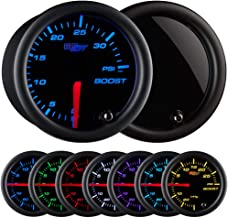 GlowShift Tinted 7 Color 35 PSI Turbo Boost Gauge Kit - Includes Mechanical Hose & Fittings - Black Dial - Smoked Lens - for Car & Truck - 2-1/16
