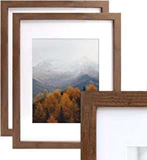 Afuly 11x14 Brown Picture Frames Set with 8x10 Mat for Gallery Wall and Desk Office,Walnut Wood Color,2 Pack