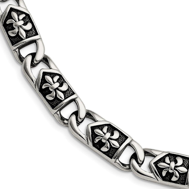 Beautiful Stainless Steel Polished Antiqued Fleur de Lis Bracelet
