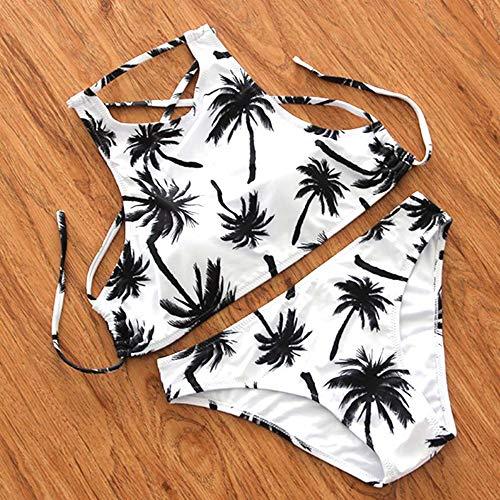 SHUCHANGLE Vrouwen Bikini Set Badpak Zwemkleding Hoge Hals Bikini Badmode Vrouwen Badpak Bikini Set Print Kokosnoot Boom Patroon Halter Top Beach Wear Badpakken