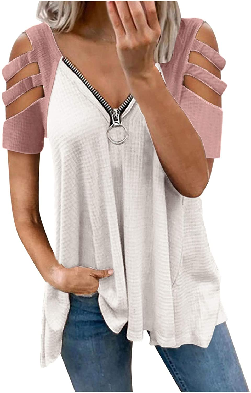 Tunic Tops for Women Casual Summer,Women's Cute Swiss Dot Casual Summer Tops Crewneck Short Sleeve Chiffon Blouses Solid Color Loose Fit Shirts Tees