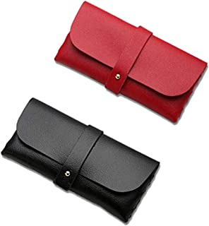 LUFOX 2Pcs Portable Leather Glasses Case fits Most Glasses and Sunglasses Case Eyewear Pouch for Women Men(Red and Black)