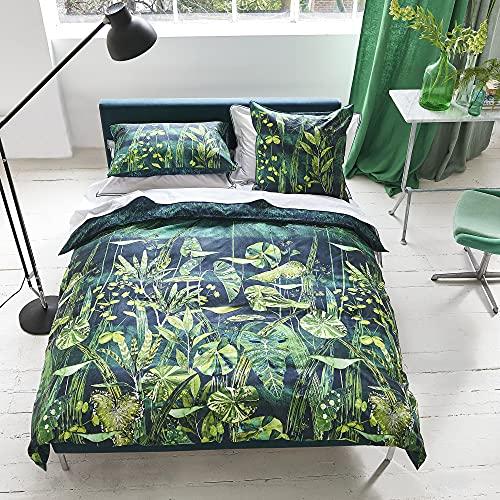 Designers Guild Arjuna Leaf - Funda de edredón (algodón, 260 x 240 cm), Color Morado