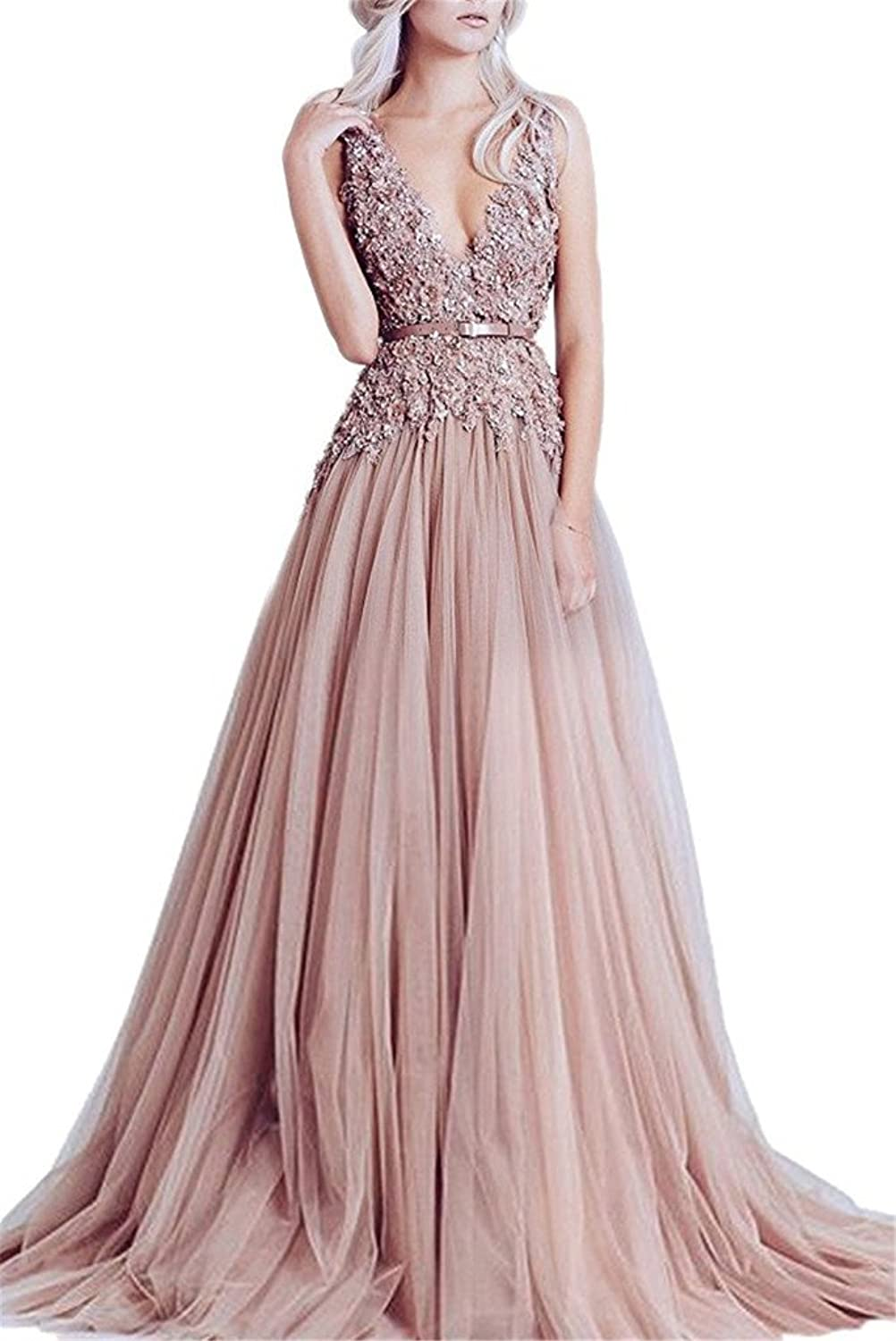 XSWPL Sexy Deep v Neck Appliques Tulle Prom Dresses Long Backless Wedding Party Dress with Belt