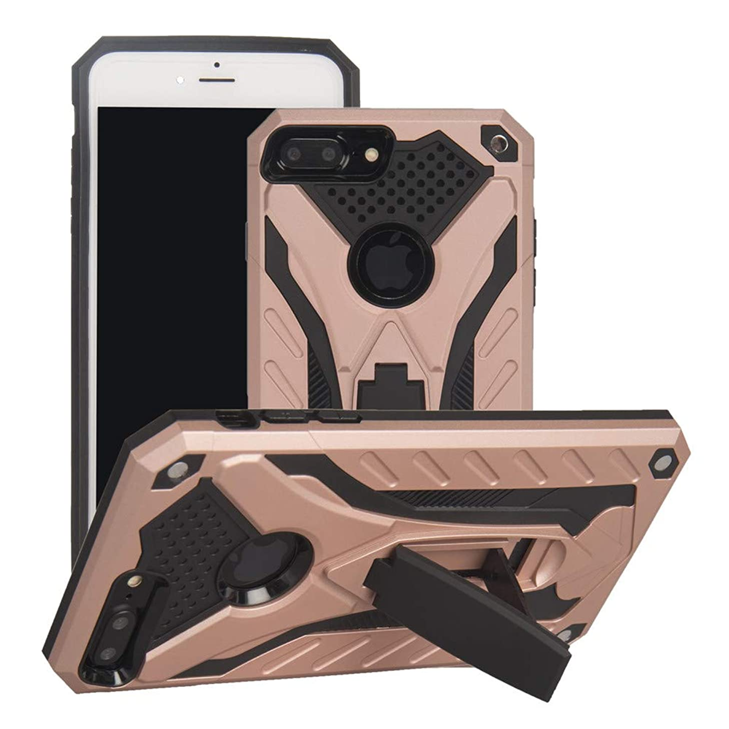 IVY [2 in 1][Kickstand] Phone Cases with Military Drop Tested Impact Resistant Heavy Duty Silica Gel & PC Cover for iPhone 8 Plus/7 Plus - Rose Gold